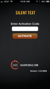 Silent Text Activation Screen