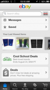 ebay ios homepage