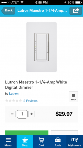 Lowes App Selecting a Product